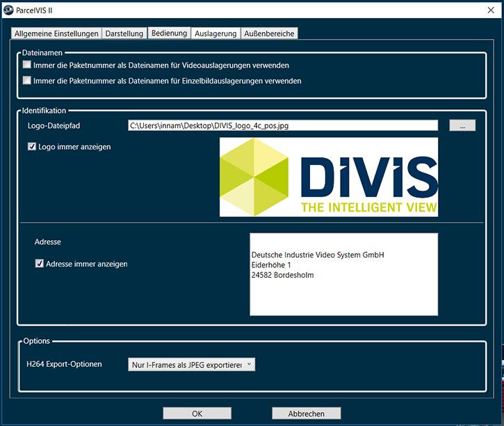 Bildoptionen in CargoVIS und ParcelVIS