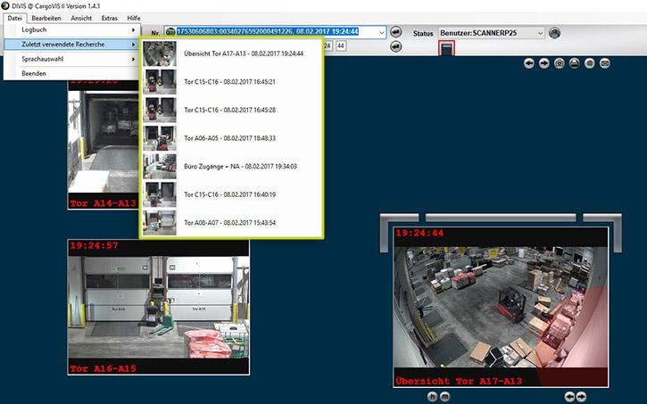 CargoVIS-Funktion: zuletzt verwendete Sendungsrecherche