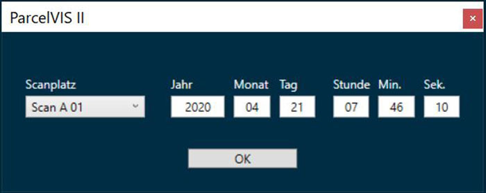 Paketrecherche in ParcelVIS | Datum, Uhrzeit