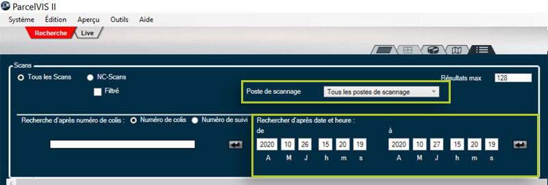 ParcelVIS   Recherche par date, heure et